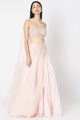 Blush Pink Embroidered Gown With Drape by Dhwaja