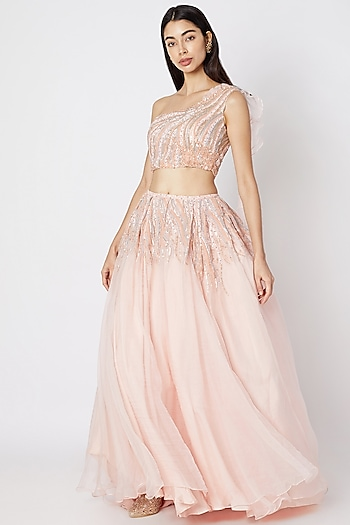 Blush Pink Draped Lehenga Set With Embroidery by Dhwaja