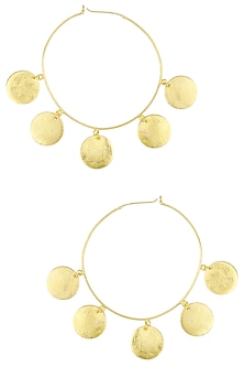 Matte Gold Plated Ladoo Hoop Earrings by Dhora