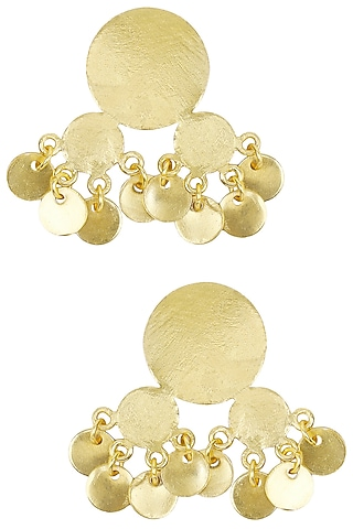 Matte Gold Plated Ladoo Jhumki Earrings by Dhora
