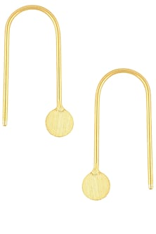 Gold Finish Point Hook Earrings by Dhora