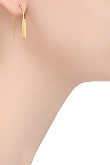 Gold Finish Line Hook Earrings by Dhora