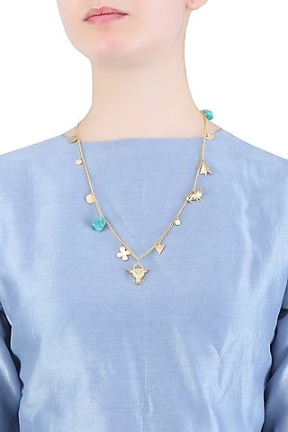 Gold Finish Multiple Charms Necklace by Dhora