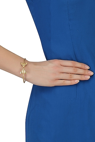 Gold Plated Bee Bangle by Dhora
