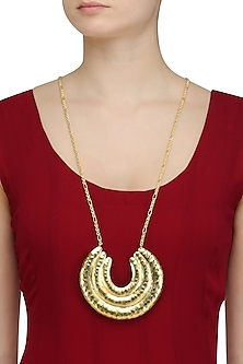 Gold Plated Semi Circle Big Pendant Chain Necklace by Dhora