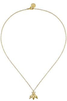 Gold Plated Bee Pendant Chain Necklace by Dhora
