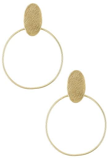 Gold Plated Oat Hoop Earrings by Dhora