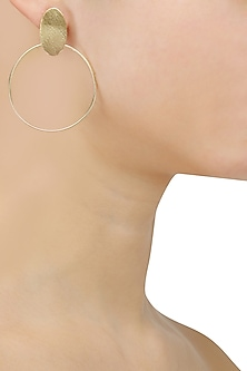 Gold Plated Oat Hoop Earrings by Dhora