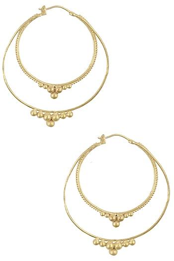 Gold Plated Tribal Hoop Earrings by Dhora