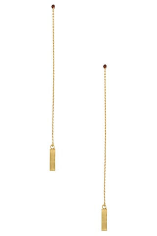 Gold Plated Line Chain Long Earrings by Dhora