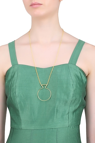Gold Finish Geometric Design Statement Necklace by Dhora