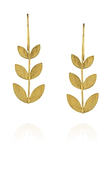 Matte gold finish tri petal hook earrings by Dhora