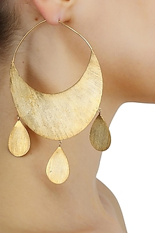 Matte gold finish chand bali hook earrings by Dhora