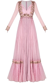 Lavender Hand Embroidered & Pleated Anarkali Style Jumpsuit by Dheeru and Nitika