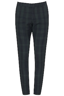 Black and Green Checked Trousers by Dhruv Vaish