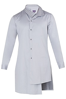 Vapour Grey Asymmetrical Shirt by Dhruv Vaish