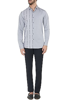 Vapour Grey Graphic Print Panel Shirt by Dhruv Vaish