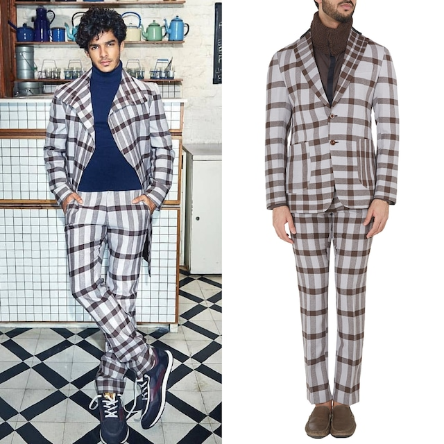 Light Grey and Brown Checked Jacket by Dhruv Vaish