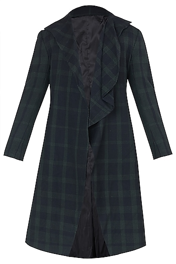 Black Drape Collar Long Overcoat by Dhruv Vaish