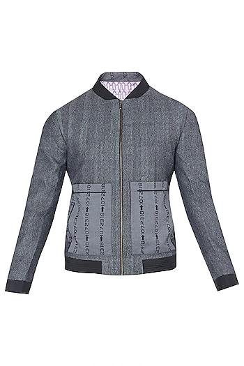 Grey and Black Digital Printed Zipper Jacket by Dhruv Vaish