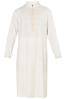 Cream Lucknowi Embroidered Kurta with Churidar Pants by Dhruv Vaish