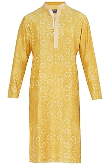 Mustard Yellow Resist Dye Embroidered Kurta with Churidar Pants by Dhruv Vaish