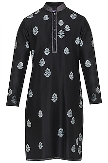 Black Resist Dye Embroidered Kurta with Churidar Pants by Dhruv Vaish