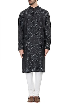 Black Embroidered Resist Dye Kurta with Churidar Pants by Dhruv Vaish