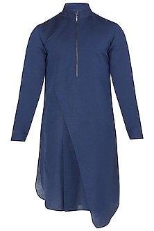 Navy Blue Asymmetrical High Collar Kurta by Dhruv Vaish
