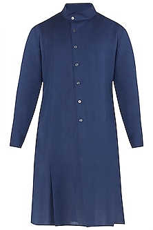 Navy Blue High Collar Kurta by Dhruv Vaish