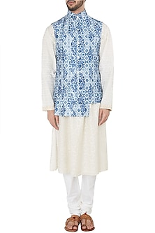 Antique Blue Asymmetrical Digital Printed Nehru Jacket by Dhruv Vaish