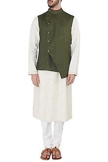 Moss Green Overlap Nehru Jacket by Dhruv Vaish