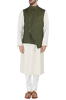 Moss Green Overlap Nehru Jacket by Dhruv Vaish