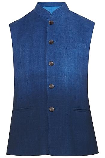 Navy Blue Ombre Nehru Jacket by Dhruv Vaish