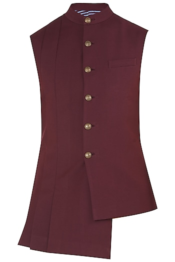Burnt Ruby Asymmetrical Nehru Jacket by Dhruv Vaish