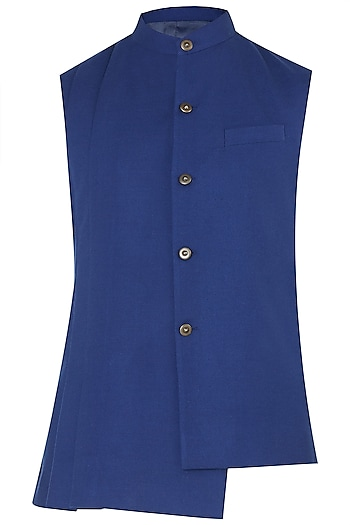 Ink Blue Asymmetrical Nehru Jacket by Dhruv Vaish
