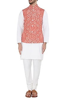 Crimson Resist Dye Quilted Nehru Jacket by Dhruv Vaish