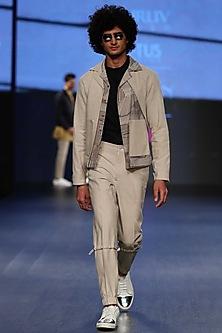 Sandstone Maze Handloom Digital Printed Layered Jacket by Dhruv Vaish