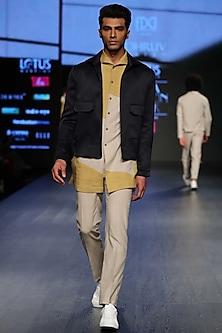 Yellow Buff Color Blocked Long Shirt by Dhruv Vaish