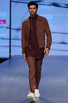 Saddle Brown Drawstring Jacket by Dhruv Vaish