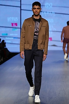 Saddle Brown Bomber Jacket by Dhruv Vaish