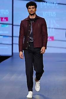 Deco Plum Paneled Jacket by Dhruv Vaish