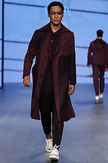 Deco Plum Trench Coat by Dhruv Vaish
