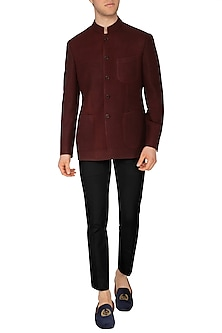 Maroon Bandhgala Jacket by Dhruv Vaish