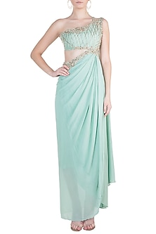 Mint Green Embroidered Saree Gown by Dhwaja