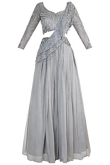 Grey Embroidered Lehenga Set by Dhwaja