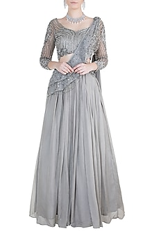 Grey Embroidered Lehenga Set by Dhwaja
