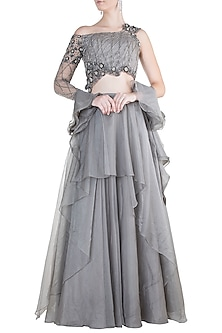 Grey Embroidered Layered Lehenga Set by Dhwaja