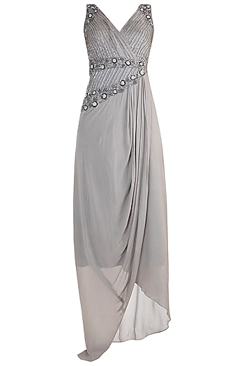 Grey Embroidered Saree Gown by Dhwaja
