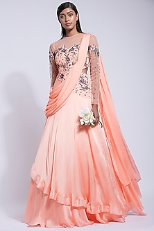 Peach Embroidered Saree Gown by Dhwaja
